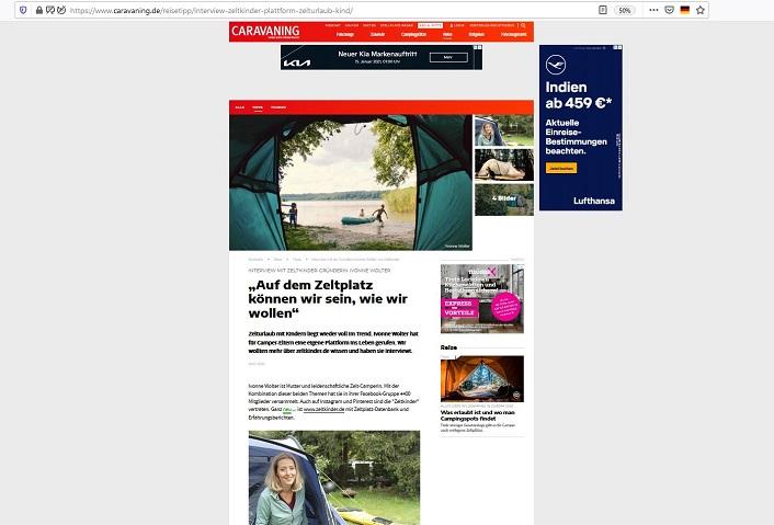 Veröffentlichung Zeltkinder-Interview auf caravaning.de