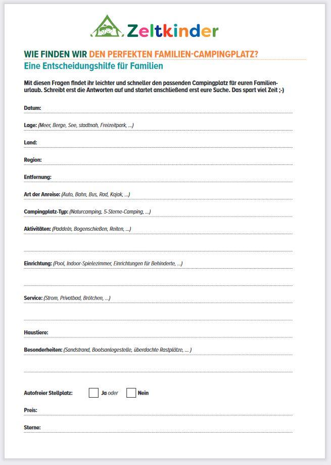 Fragebogen für die Suche nach den perfekte Campingplatz für Familien